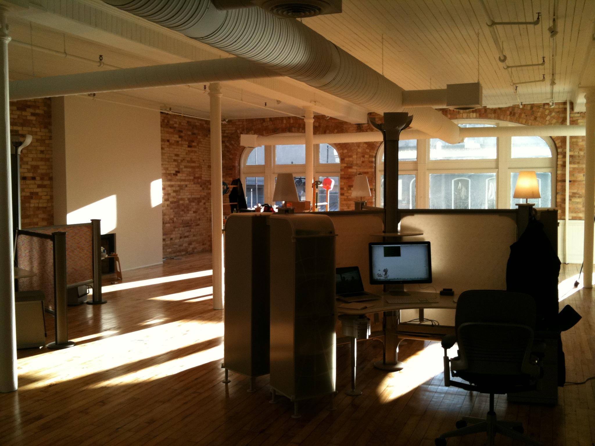 New office space at conduit studios aaron vanderzwan for Brick wallpaper office