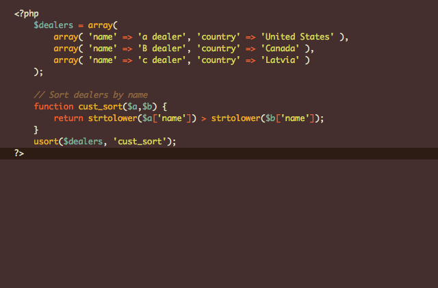 php sort array by key